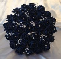 ARTIFICIAL FLOWERS NAVY BLUE  FOAM ROSE BRIDE CRYSTAL WEDDING BOUQUET POSIE